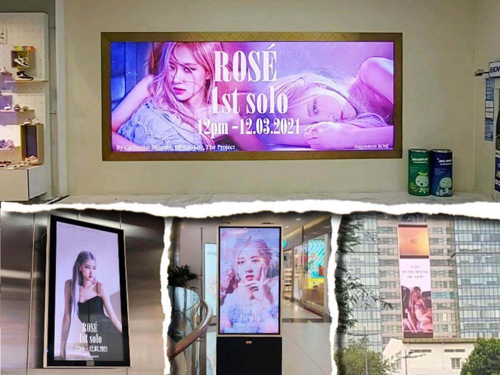 project quảng cáo ngoài trời chúc mừng Rosé debut solo