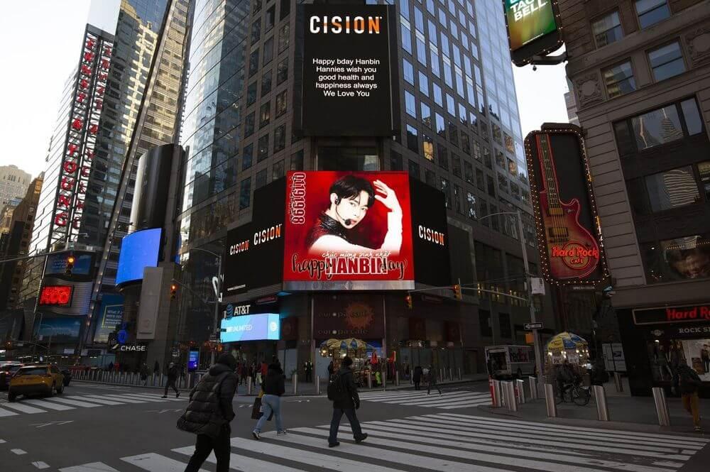 quảng cáo chúc mừng sinh nhật Hanbin tại Times Square
